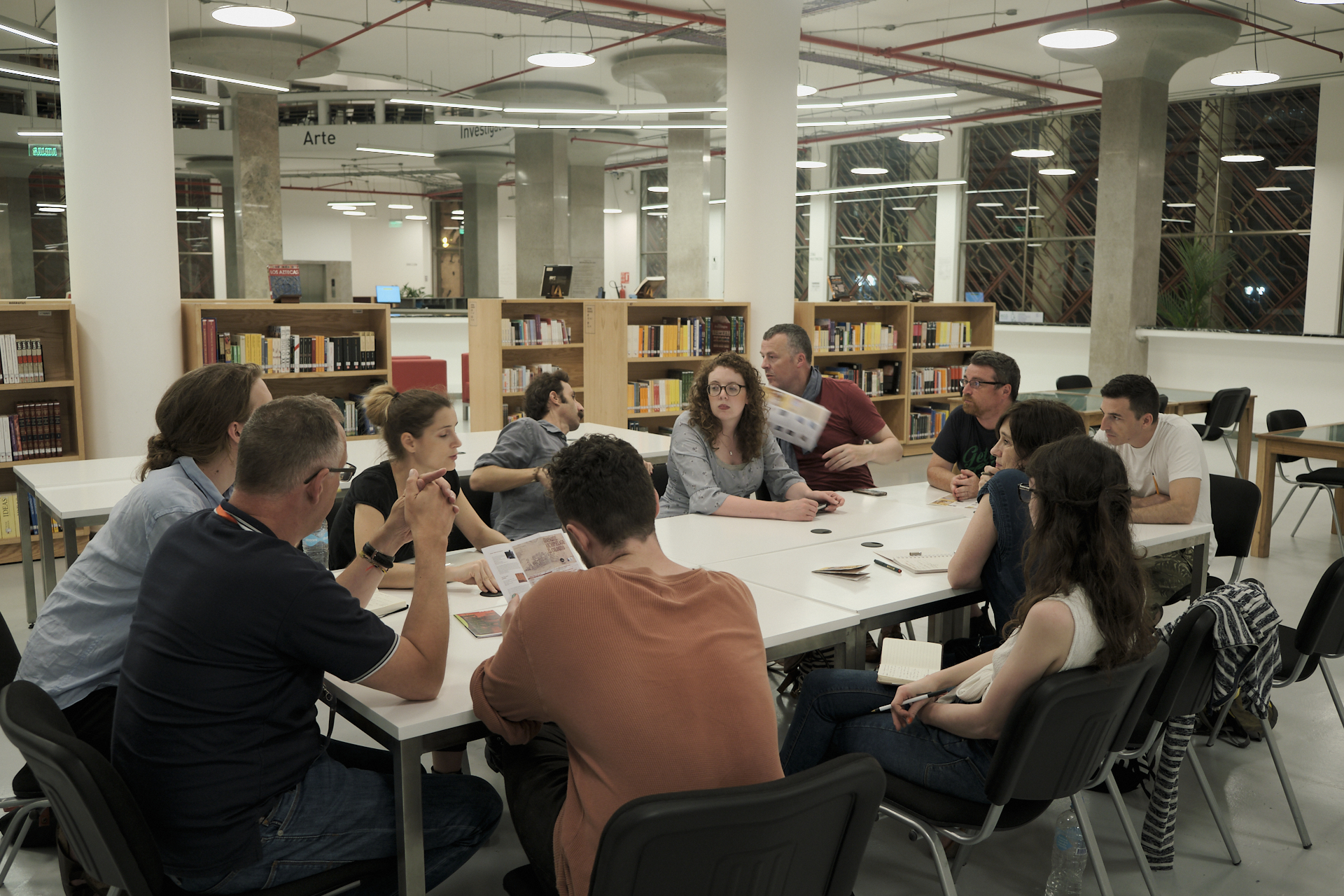 Secondees from GradCam (TU Dublin) and IRI-Centre Pompidou (France) finalising details of the exhibition with hosts from Universidad de las Artes in Guayaquil. Photograph by John Beattie.
